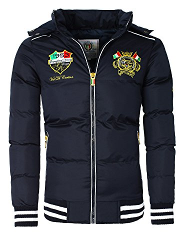 Herren Winterjacke in Daunenjacken-Optik Patches Stickerei Geographical Norway navy L