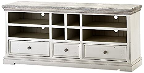 Robas Lund FW608T21 Opus TV-Element, Kiefer weiß / white sanded, 3 Schubkästen / Fächer, circa 163 x 72 x 47 cm