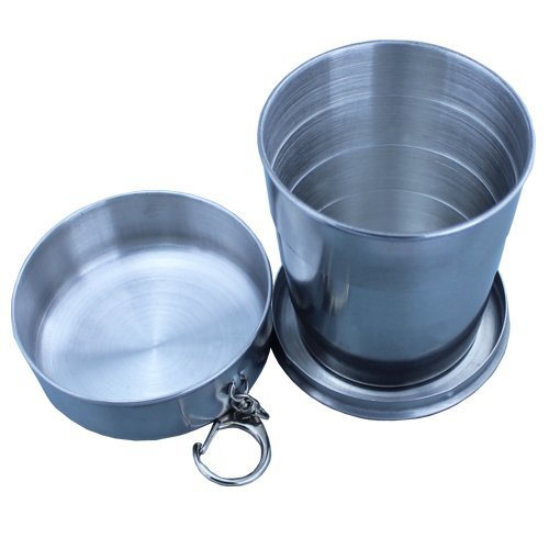 Stainless Steel Portable Outdoor Travel Camping Folding Collapsible Cup Metal Telescopic Keychain 240ml