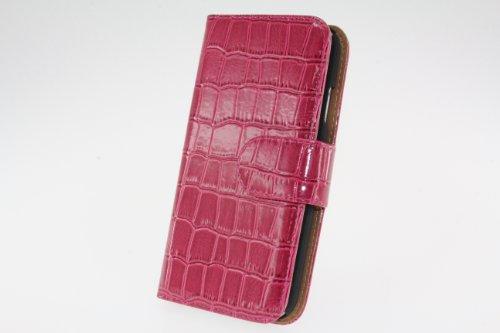 JAPAEMO Galaxy S4 (SC-04E) アニマルシリーズ クロコ柄エナメル風 レザー調 フリップ 手帳型 マグネットタイプ カードケース付き 全5色ドコモ ギャラクシーS4 ケース ヴィヴィットピンク [JE01014]