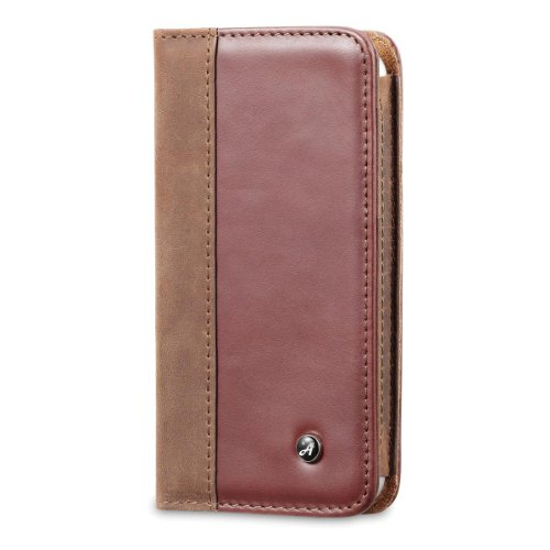 Special Sale Acase Genuine Leather Wallet Case for iPhone 5S / 5 - Vintage Brown and Red