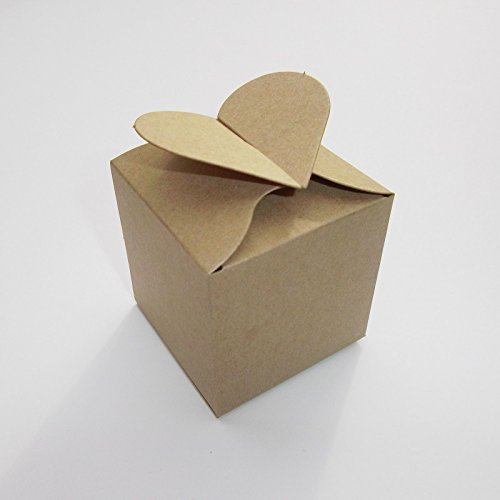 Best Offer 100 X Kraft Heart Top Wedding Favour Boxes Top Cake Boxes