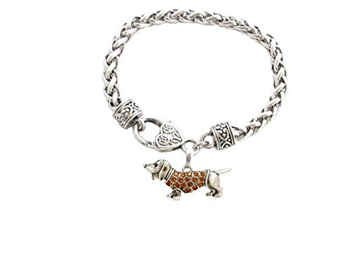 dachshund-weenie-dog-breed-silver-brown-crystal-charm-bracelet-jewellery-gift