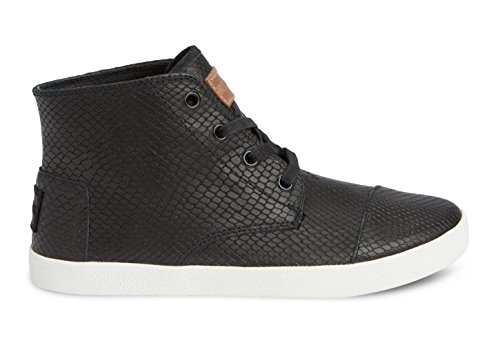 Toms Womens Paseo High Sneakers in Black Leather Snake 6