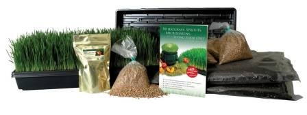 Certified Organic Wheatgrass Growing Kit - Grow & Juice Wheat Grass: Trays, Seed, Soil, Instructions, Wheatgrass Book, Trace Mineral Fertilizer & More (Wheatgrass Kit Organic compare prices)