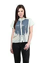 Mayra Women's Georgette Shirt (1512T11173_S, Blue)
