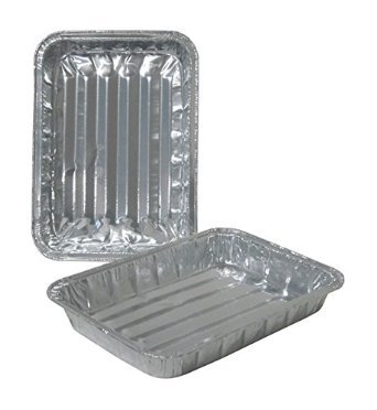 "Toaster Oven Small Disposable Reuseable Aluminum Broiler Pan Pans with Ridges - Set of 36, Handi-Foil, 8.75"" x 6.25"" x 1.125"""
