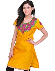 Exotic India Beeswax-Yellow Kurti With Thread Embroidered Patch And Seq - Yellow