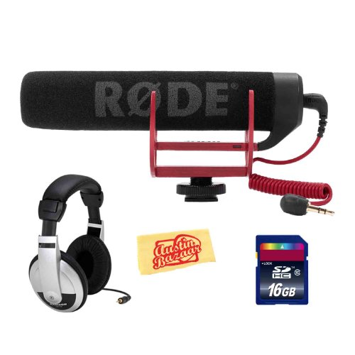 Rode Videomic Go Lightweight On-Camera Supercardioid Microphone Bundle With Headphones, Sd Card, And Polishing Cloth