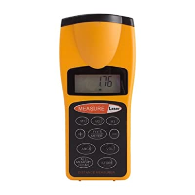 Flexzion Ultrasonic Distance Meter Measurer Digital Tape Estimator Measuring Device Area Volume Calculator Hand Held Tool Range 2 to 52ft LCD Backlight with Laser Pointer Yellow