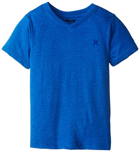 Hurley Little Boys' Icon Premium Loose Fit Tee, Hyper Cobalt Heather, 6 front-901645