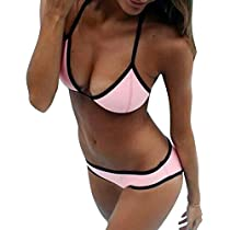 Women's Non-Material-neoprene Bikini 2 Pieces Neck with Ties Swimsuit Swimwear (Pink),Large