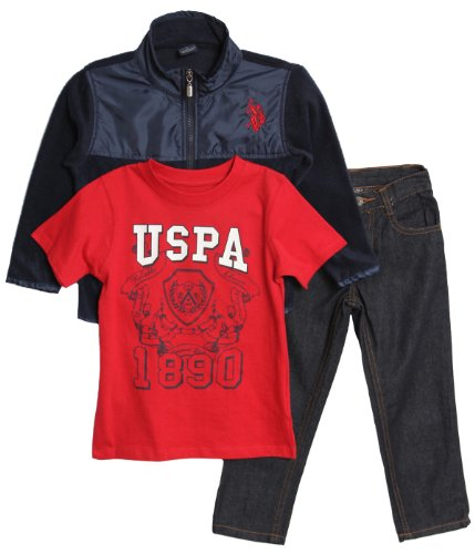 U.S. Polo Assn. Little Boys' Micro Fleece Jacket T-Shirt And Denim Jean, Classic Navy, 6