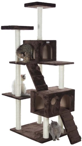 GleePet GP78700623 Cat Tree with Ramp, 70-Inch, Coffee Brown