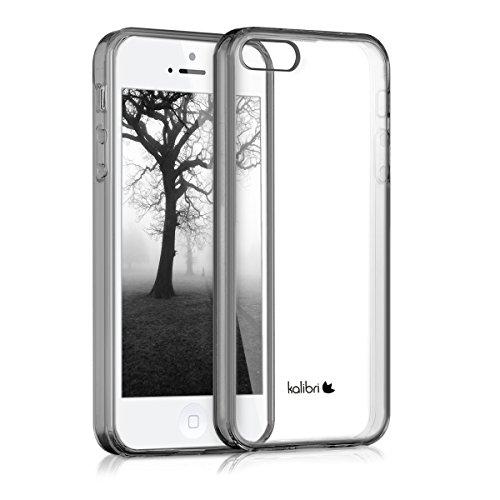 kalibri-Crystal-Case-Hlle-Sunny-fr-Apple-iPhone-SE-5-5S-transparente-Kunststoff-Schutzhlle-mit-TPU-Silikon-Rahmen-in-Schwarz-Transparent