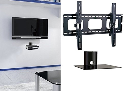 2xhome - NEW TV Wall Mount Bracket & One (1) Single Shelf Package - Secure LED LCD Plasma Smart 3D WiFi Flat Panel Screen Monitor Monitor Display Large Displays - Flat Thin Ultra Slim Sleek Against the Wall Adjusting Adjustable - Single 1 Tier Under TV Tempered Glass Floating Hanging Shelves Shelving Unit Rack Tower Set Bundle - Up to 15 degree degrees Tilt - Compatible VESA 200mm x 200mm, 400mm x 400mm , 600mm x 400mm, 700mm x 450mm, 718mm x 450mm