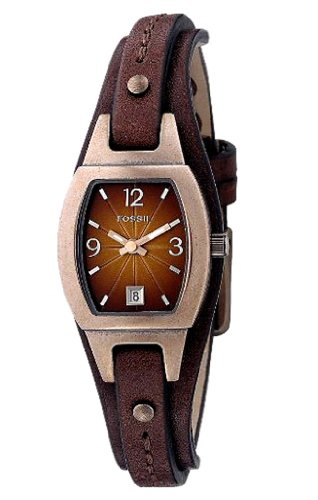 Fossil Women's JR9760 Skinny Brown Leather Strap Brown Analog Dial Watch