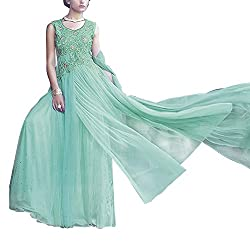 Destiny Enterprise Unstitched Silk Net Turqouise Color Embroideried Party Wear Gown Material for Women