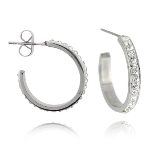 Stainless Steel Hypoallergenic Silver Colored and Crystal Accented Double Sided Small Jasmine Hoop Earrings