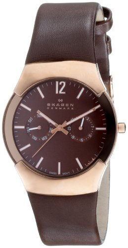 Skagen Mens Watch 583XLRLM with Brown Leather Strap and Brown Dial