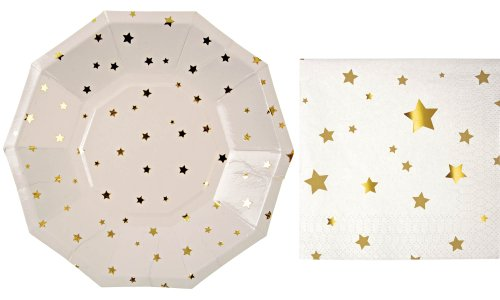 Meri Meri Gold Stars Small Plates and Napkins (8 plates and 16 napkins)