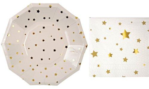 Meri Meri Gold Stars Small Plates and Napkins (8 plates and 16 napkins)