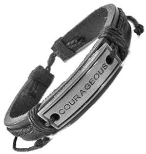 amazoncom courageous engraved adjustable leather