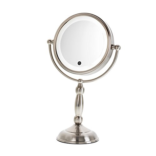 Danielle Enterprises Touch Button Satin Nickel Led Lighted Mirror With Dimmer, 10X Magnification, Satin Nickel front-725920