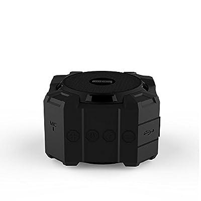 Monstercube Armor Portable Speaker with Bluetooth , 5W Speaker Driver / Hi-Def Bass / Waterproof / Dustproof / Shockproof , Speaker used for Shower, Bathroom, Outdoor Climbing, Hiking etc (Black)