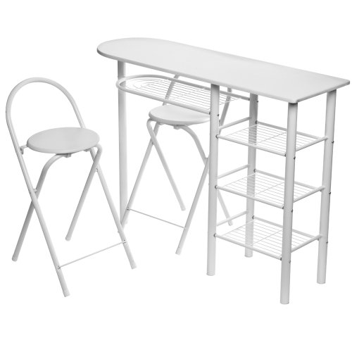 Contemporary Breakfast Bar Table Set, With 2 Foldable Stools, White Powder Coated Legs/White PVC Coated MDF Top