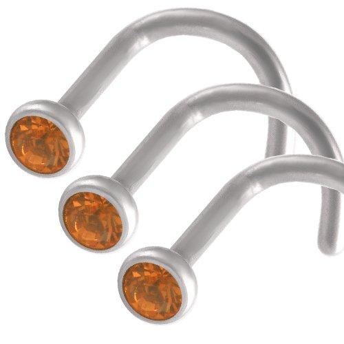3Pcs 18g 18 gauge 1mm Steel nose rings studs screws bones bars Topaz Crystals lot AJIL Jewellery Body Piercing