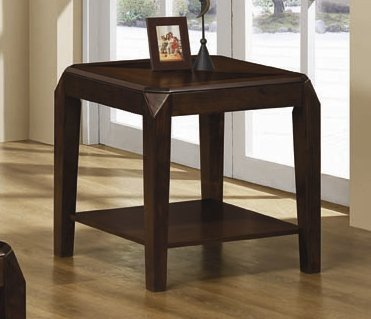 Cheap End Table with Clip Cornered and Shelf in Dark Oak Finish (VF_703177)