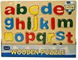 Childrens Kids Learning Wooden Lowercase Letters ABC Alphabet or 123 Numbers Puzzle Board Toys (ABC PUZZLE)