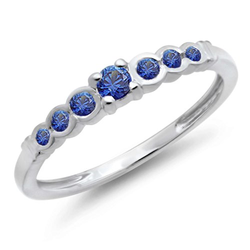 025-Carat-ctw-10K-White-Gold-Round-Blue-Sapphire-Anniversary-Wedding-Band-Stackable-Ring-14-CT