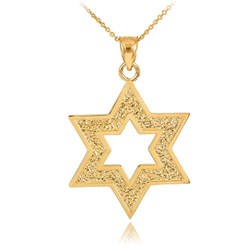 Textured 14k Yellow Gold Cutout Jewish Star of David Pendant Necklace, 18""