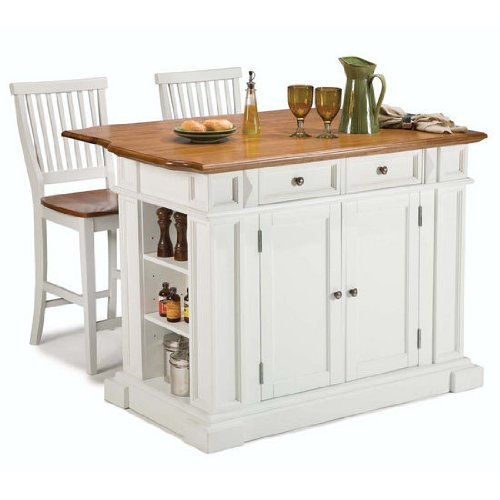 Unique How to buy online Home Styles Kitchen Island and Stools White and Distressed Oak Finish