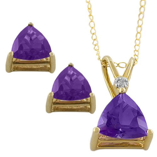 10 Karat Yellow Gold Trillion Amethyst Necklace and Earrings Set