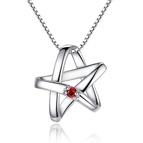 925-sterling-silver-red-garnet-lucky-star-pendant-necklace-includes-45cm-chain