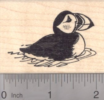 Puffin Rubber Stamp, Auk, Pelagic Seabird