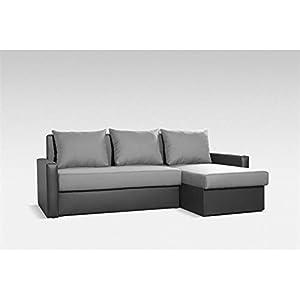 Ecksofa Eckcouch Couchgarnitur Sofa, grau/schwarz, Schlaffunktion  Kritiken und weitere Informationen