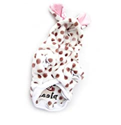 Demarkt Cute/Lovely Dog Cat Puppy Flannel Fleece Polka Dots with Bunny Rabbit Ears Hoodie Costume Clothes Pet Apparel Superdog Dress Up Pet Supplies White and Dots Coffee Size XL