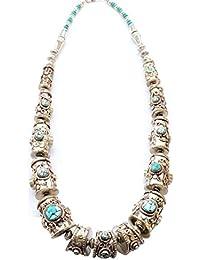 Sansar India Oxidized Silver Stone Elegant Tibetan Naplease Necklace For Girls And Women