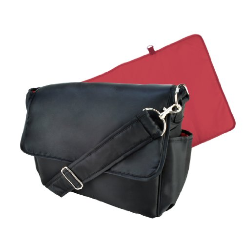 Trend Lab Messenger Style Diaper Bag, Black and Brick Red