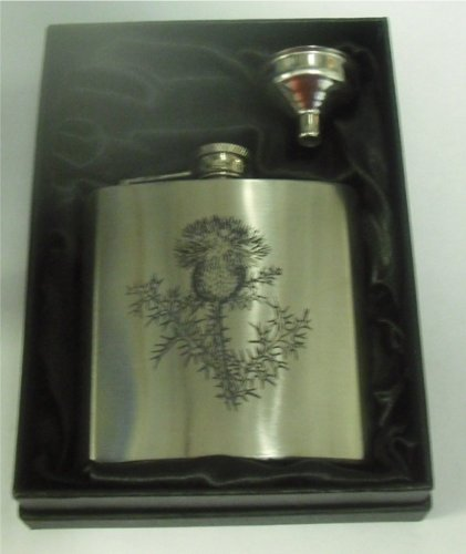 Scottish Thistle 6oZ Hip Flask can be Personalised Engraved Free hf5gb6oz