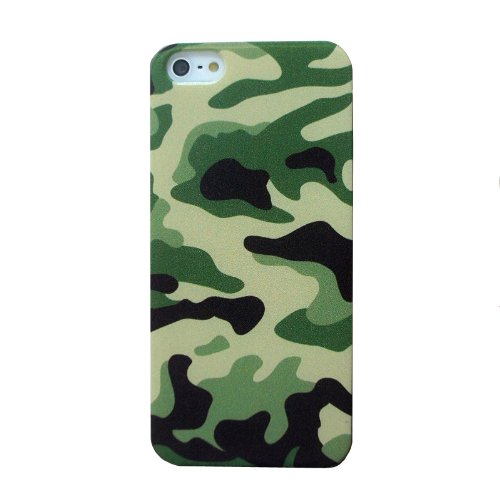 Meaci® Iphone 5 Case Painting Army Camo Pattern Fast Color 1 Free Anti-Dust Plug Stopper-Random Color (Green)
