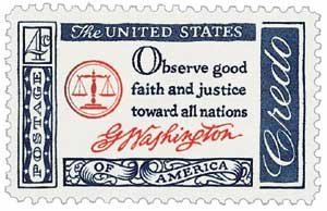 #1139 - 1960 4c American Credo, G. Washington Postage Stamp Numbered Plate Block (4)