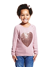 Sequin Embellished Heart Design Jumper with Angora