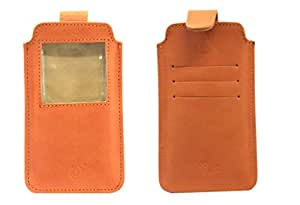 Jo Jo A10 Nillofer Leather Carry Case Pouch Wallet S View For Videocon A55 HD Orange