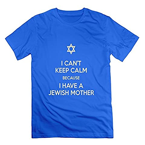 LianJian I Can't Keep Calm Cuz I Have A Jewish Mother Men's T-Shirt Medium RoyalBlue Mens