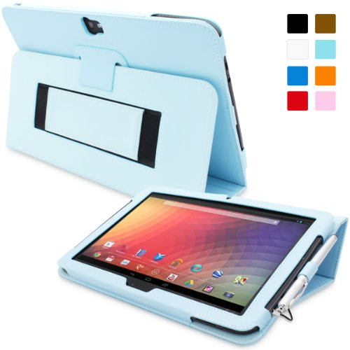 Snugg Nexus 10 Leather Case - Flip Stand Cover With Elastic Strap And Premium Nubuck Fibre Interior - Automatically Wakes And Puts The Google Nexus 10 To Sleep (Baby Blue) front-568107